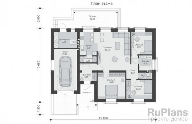 Дом 13,55 x 15,18