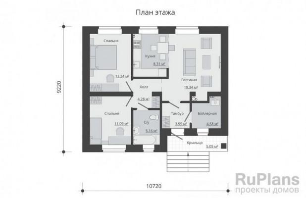 Дом 10,72 x 9,22