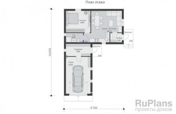 Дом 14,07 x 9,72