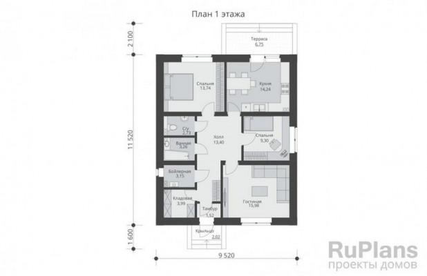 Дом 11,52 x 9,52