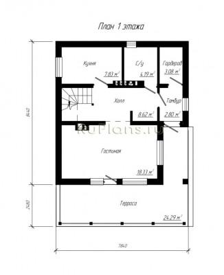 Дом 10,92 x 7,84
