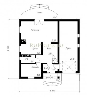 Дом 10,94 x 10,74