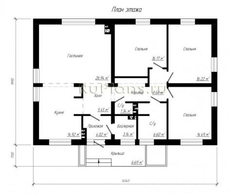 Дом 14,54 x 9,99