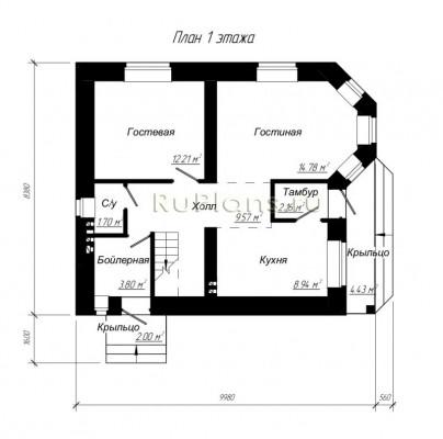 Дом 9,98 x 8,38
