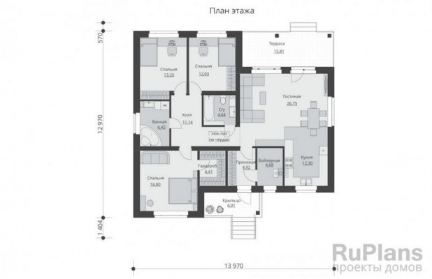 Дом 13,97 x 12,97