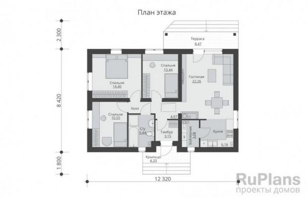 Дом 10,72 x 12,32