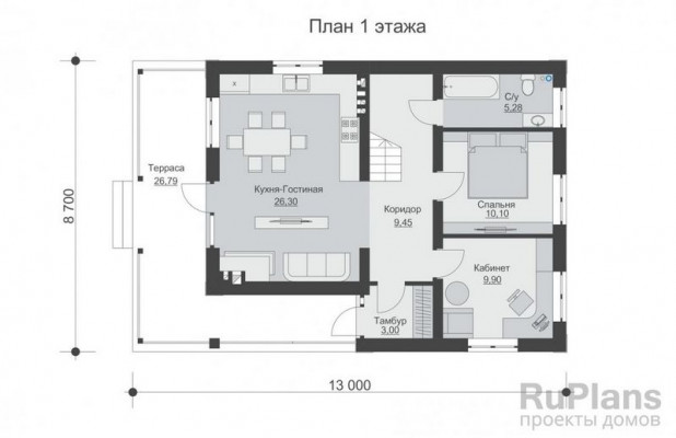 Дом 8,7 x 13