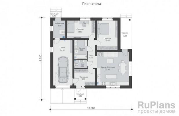 Дом 13,68 x 13,58