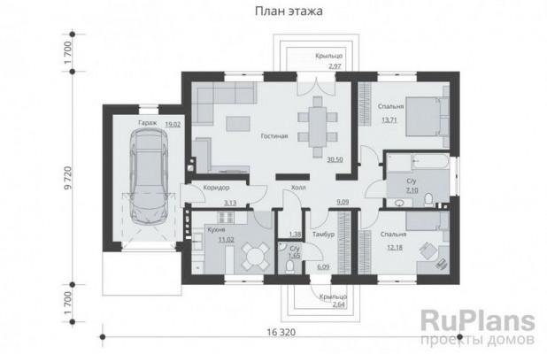 Дом 16,32 x 9,72
