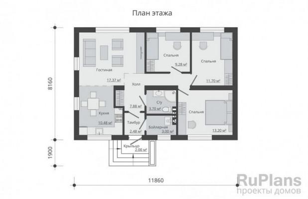 Дом 11,86 x 8,16