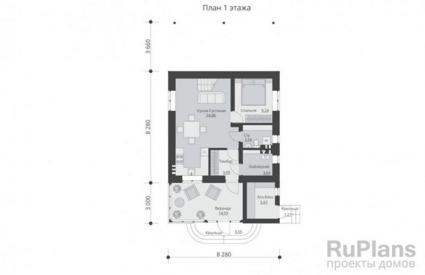 Дом 14,94 x 8,28